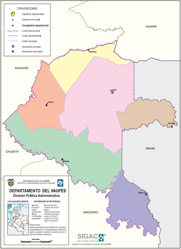 Mapa político de Vaupés (Colombia). IGAC
