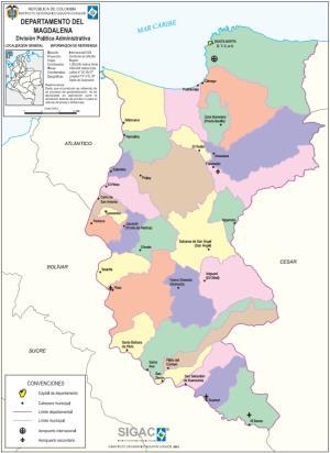 Mapa político de Magdalena (Colombia). IGAC