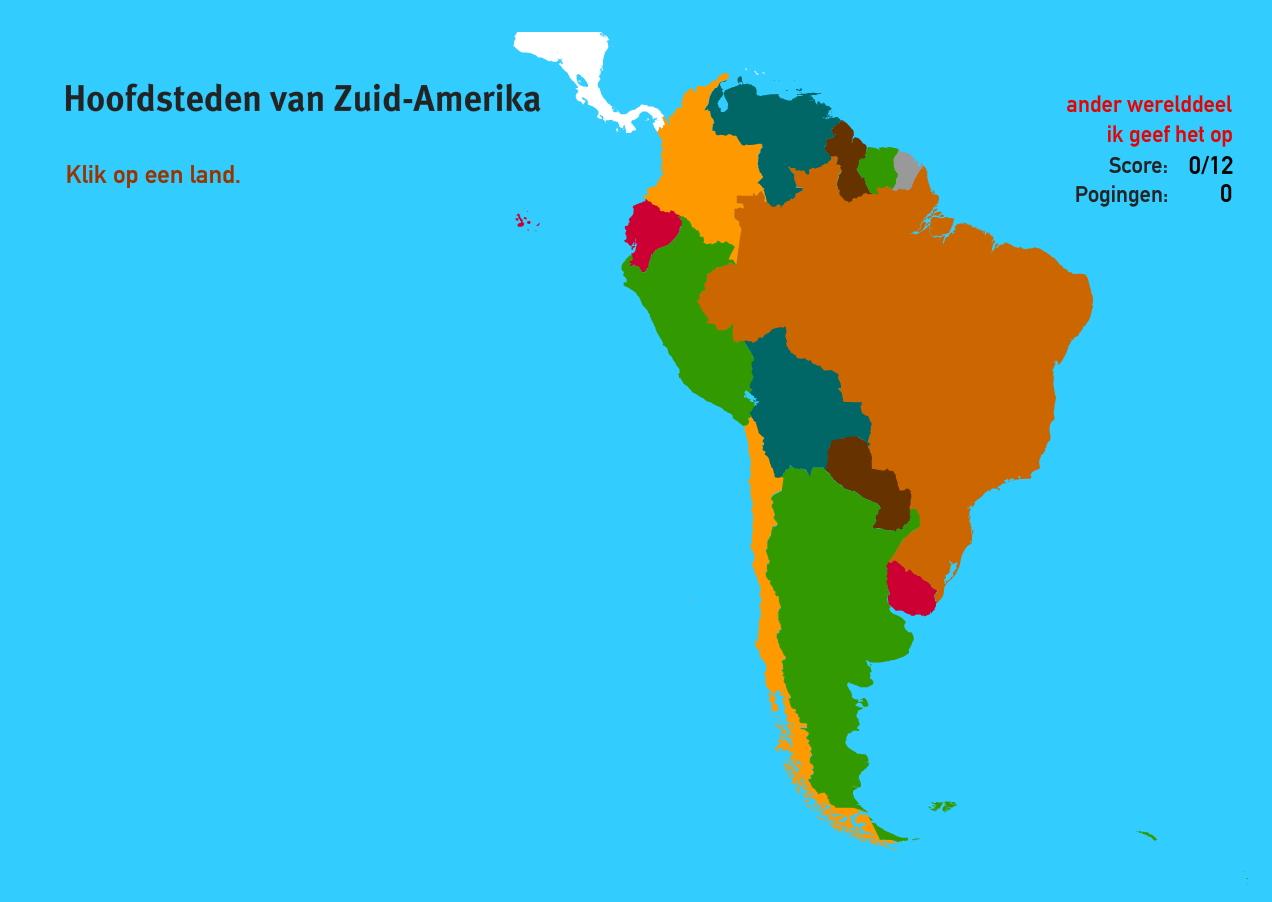 Hoofdsteden van Zuid-Amerika. Topo Wereld