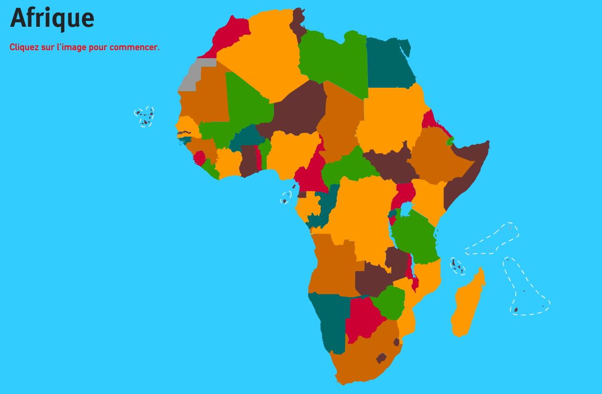 Pays d'Afrique. Jeux de Géographie