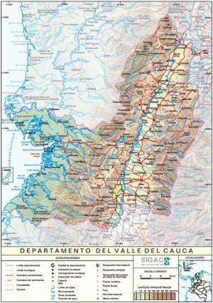 Mapa físico de Valle del Cauca (Colombia). IGAC