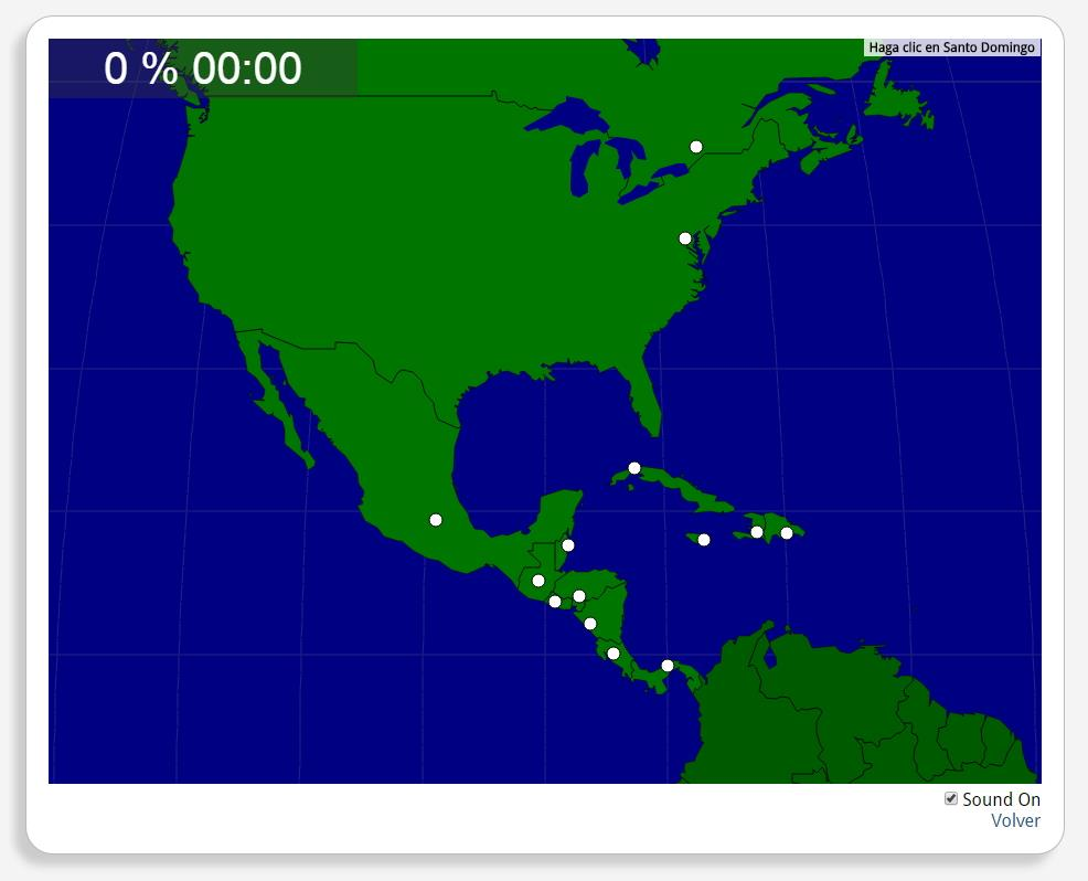 Américas do Norte e Central: Cidades. Seterra