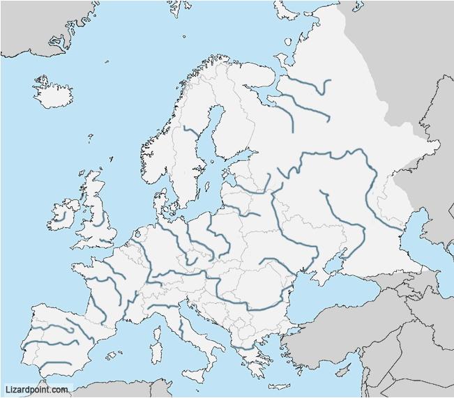 Lizard Point Europe Map.European Rivers Rivers Of Europe Hard Lizard Point Mapas