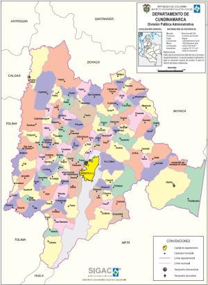 Mapa político de Cundinamarca (Colombia). IGAC