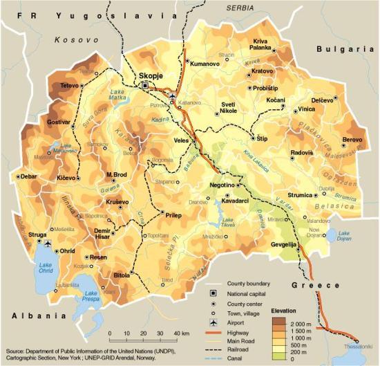 Mapa político de la República de Macedonia. GIRD-Arendal
