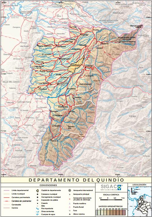 Mapa físico de Quindío (Colombia). IGAC