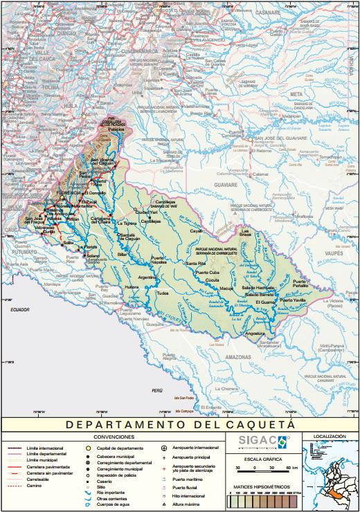 Mapa físico de Caquetá (Colombia). IGAC