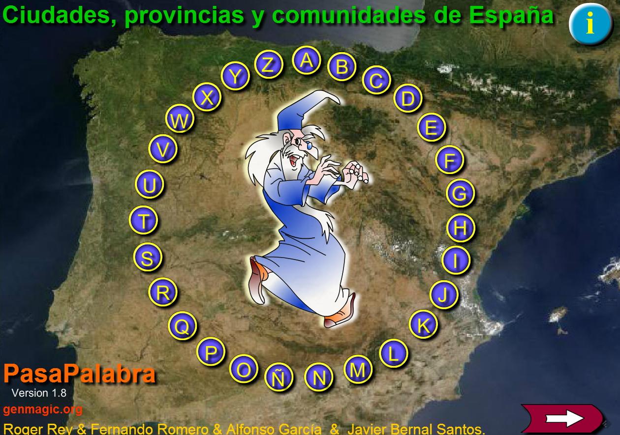 Pasapalabra de ciudades, provincias y comunidades de España. Genmagic