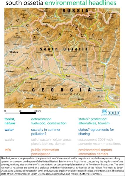 Mapa de relieve de la región de Osetia del Sur. Grid-Arendal