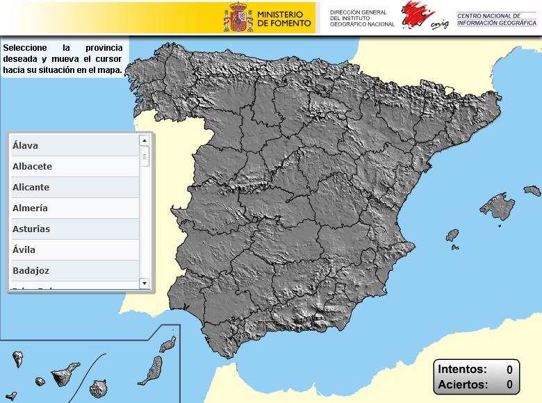 Provincias de España. Puzzle (IGN de España)