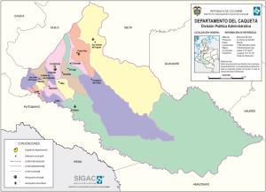 Mapa político de Caquetá (Colombia). IGAC