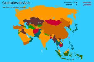Capitales de Asia. Juegos de Geografía