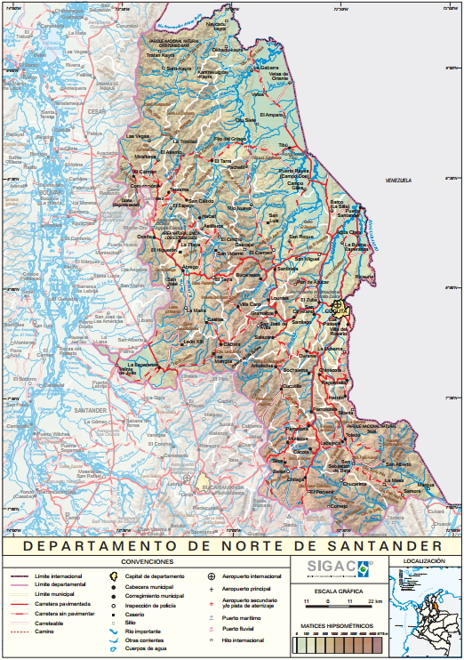 Mapa físico de Norte de Santander (Colombia). IGAC