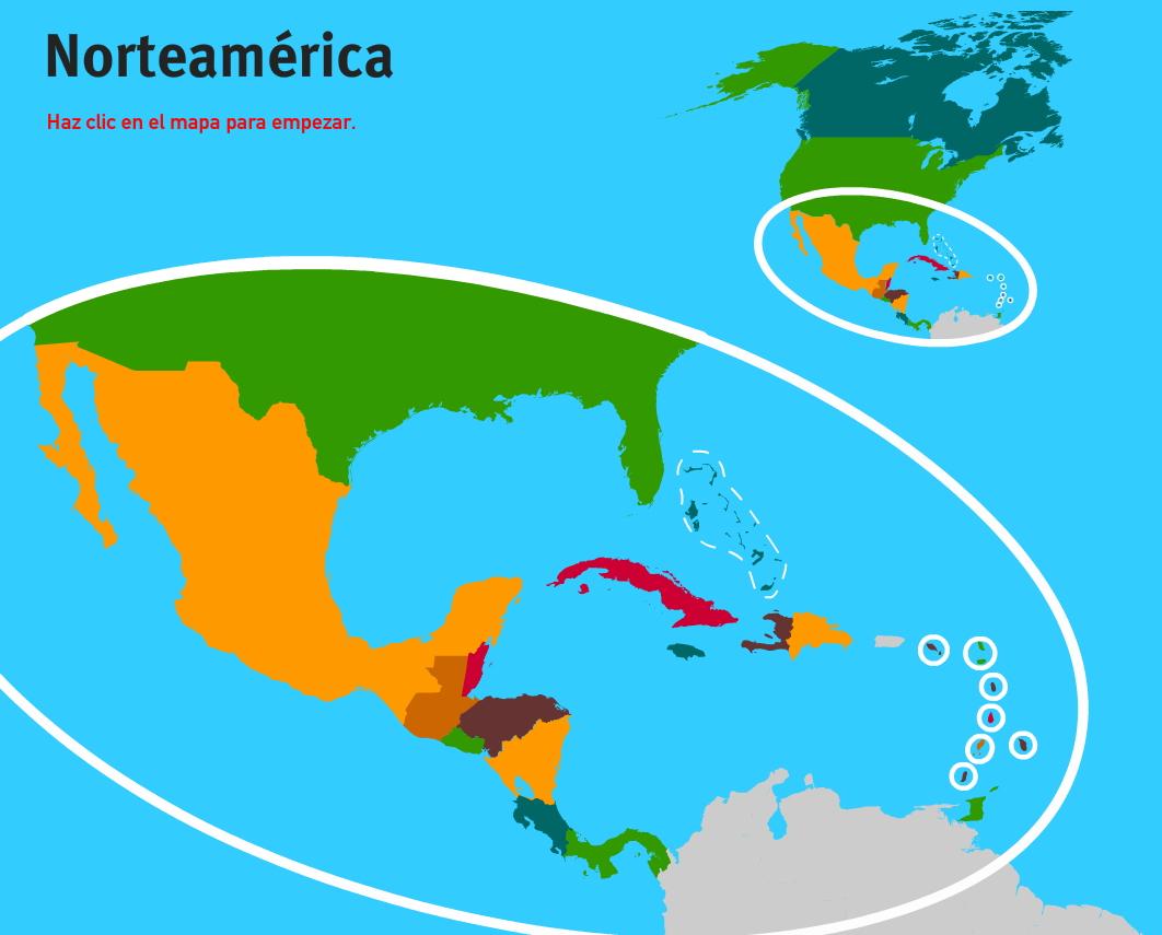 Países de América del Norte. Juegos de Geografía