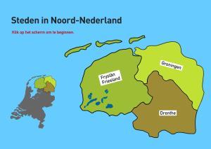 Steden in Noord-Nederland. Topografie van Nederland