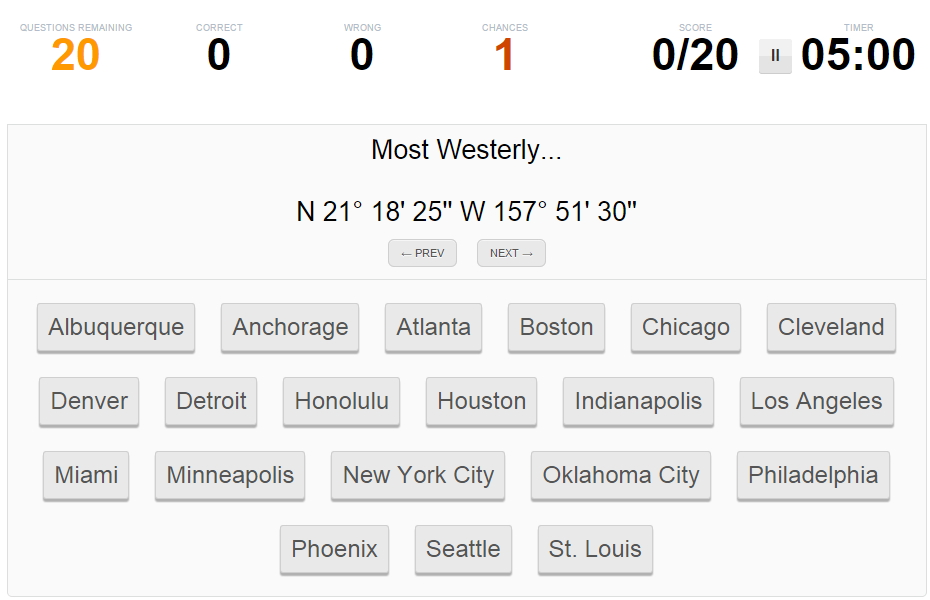 West to East United States cities. Sporcle
