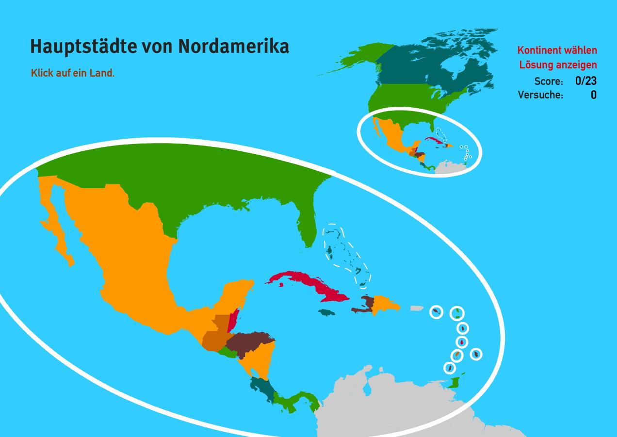 Hauptstädte von Nordamerika. Welt-Quiz Geographie