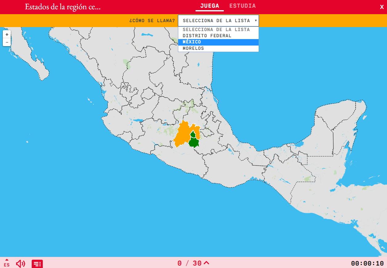 Estados da rexión centro-sur de México