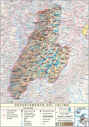 Mapa físico de Tolima (Colombia). IGAC