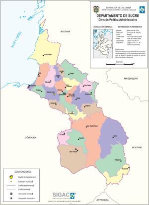 Mapa político de Sucre (Colombia). IGAC