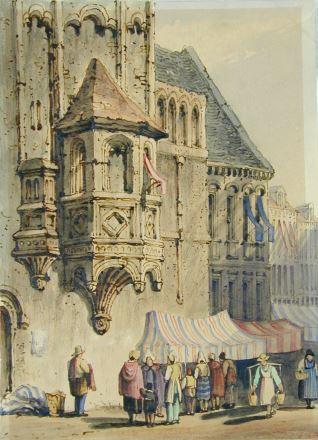 Mercado en una ciudad centroeuropea