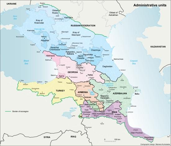 Mapa político del Cáucaso. Grid-Arendal