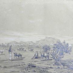 Vista de Salerno con pastores y rebaño en primer término (Italia)