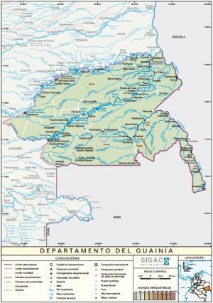 Mapa físico de Guainía (Colombia). IGAC
