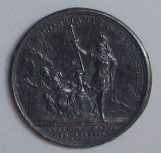 Prueba de plomo para la medalla conmemortiva del asedio de la fortaleza de Verrua