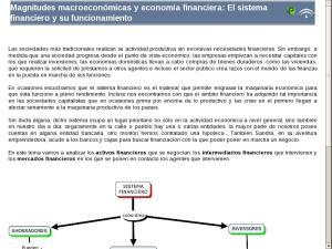 Magnitudes macroeconómicas y economía financiera: El sistema financiero y su funcionamiento