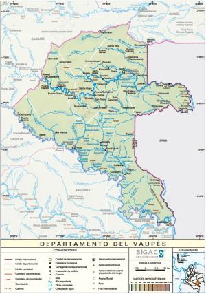 Mapa físico de Vaupés (Colombia). IGAC