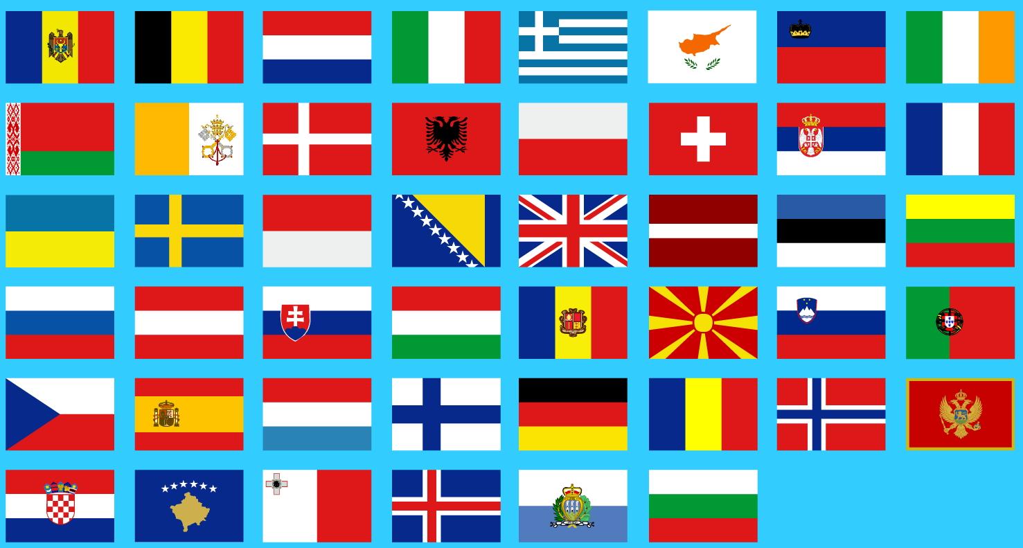 Banderas de Europa. Juegos geográficos
