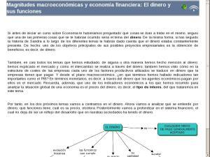 Magnitudes macroeconómicas y economía financiera: El dinero y sus funciones