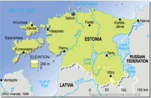 Mapa físico de Estonia. Grid-Arendal