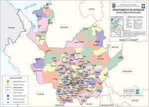 Mapa político de Antioquia (Colombia). IGAC