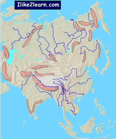 Map Of Asia Mountains.Asia Mountain Ranges Mountain Ranges Of Asia Ilike2learn Mapas