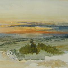 Puesta de sol sobre la campiña