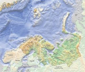Mapa político de la región de Barents. GRID-Arendal
