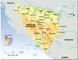 Mapa de relieve de Bosnia-Herzegovina. Grid-Arendal