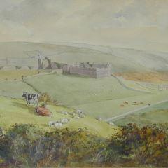 Castillo e iglesia de Manorbier, en el sur de Gales