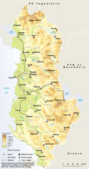 Mapa de relieve de Albania. GRID-Arendal