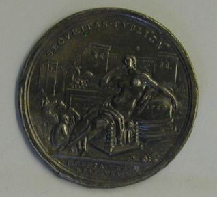 Prueva de reverso de una medalla de Benedicto XIV