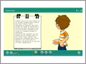Palabras clave, títulos, tipografía (grosa, cursiva), imaxes