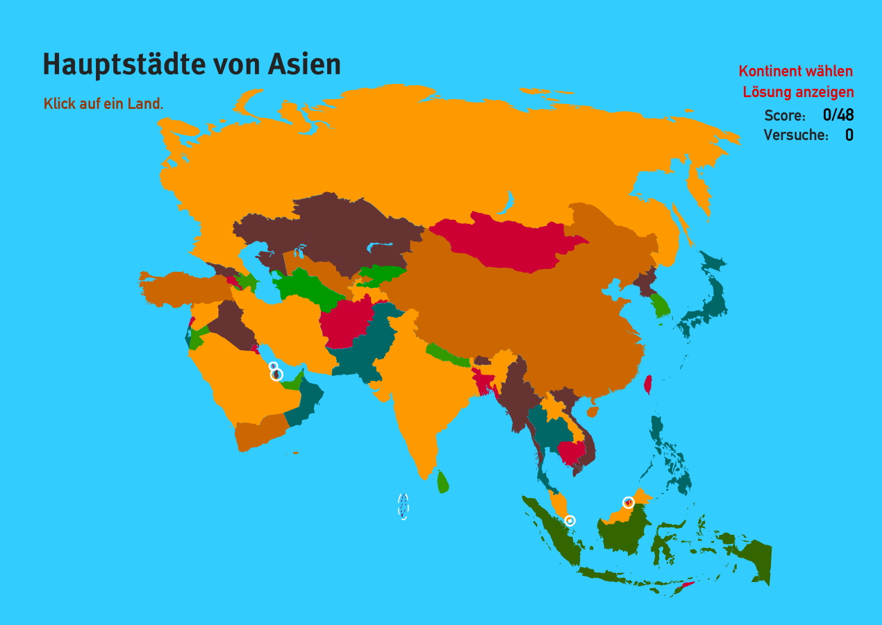Hauptstädte von Asien. Welt-Quiz Geographie