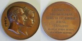 Medalla conmemorativa de la boda de Alfonso XII con María de las Mercedes de Orleans