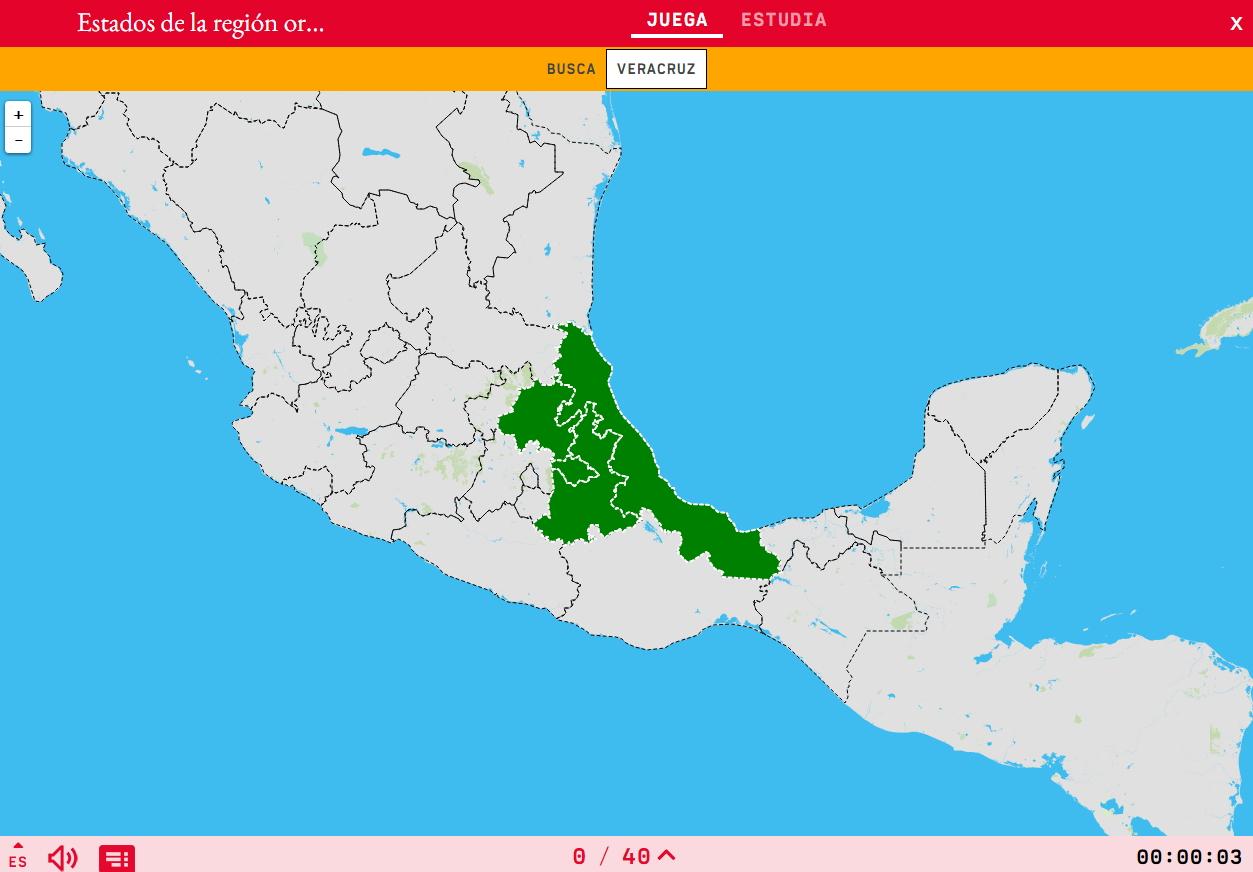 Estados de la región oriental de México