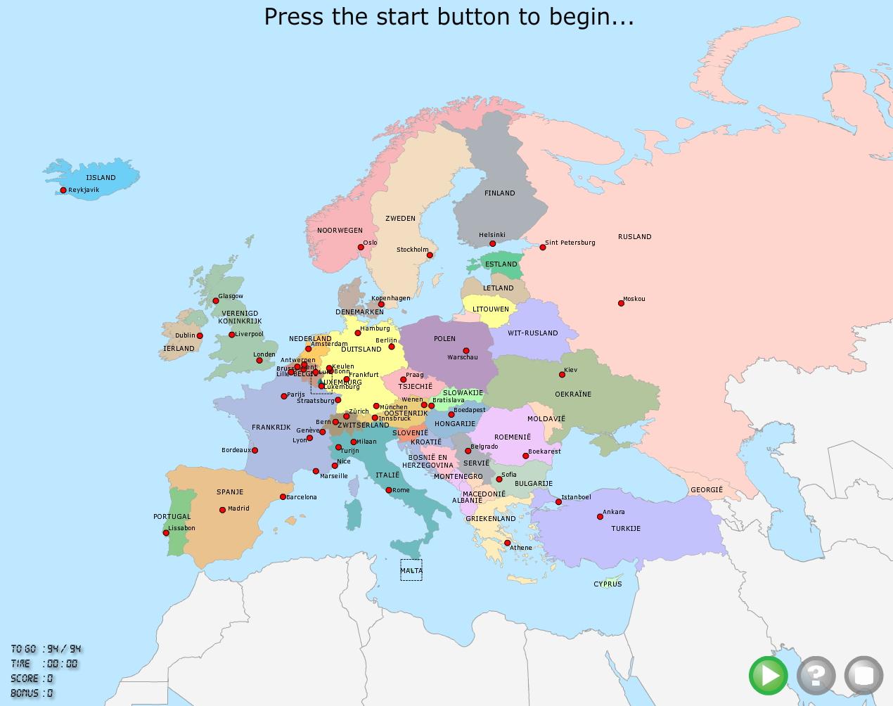 Mapa de países y ciudades de Europa. TopoMania