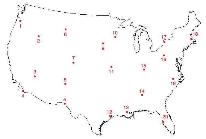 Cities of the United States. Sporcle