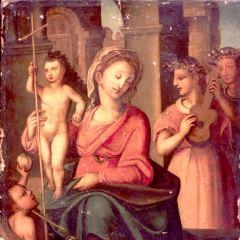 Virgen con Niño, San Juanito y ángeles músicos