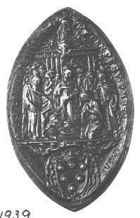 Adoración del Niño y escudo de los Medici